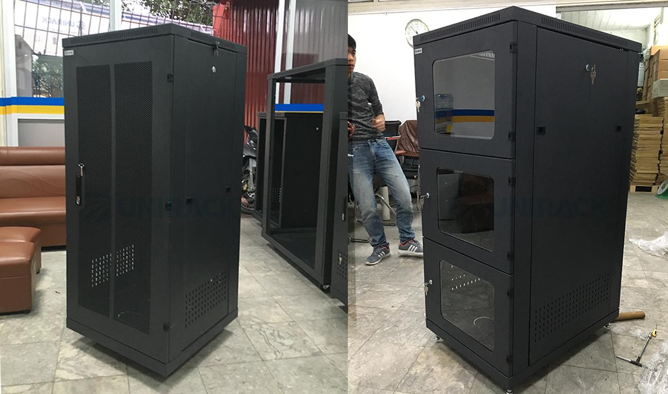 Tủ mạng 27U sâu 800 cửa Mika theo yêu cầu của khách hàng, Tủ mạng 27U sâu 800Mika sản xuất theo yêu cầu của khách hàng