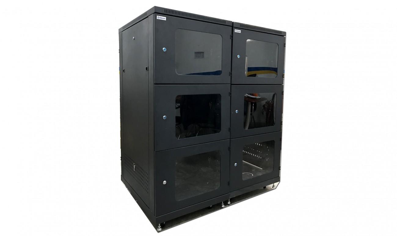 Tủ rack 27U 3 cửa Mika, UNIRACK - Tủ rack 27U, 3 cửa Mika màu đen sản xuất theo yêu cầu